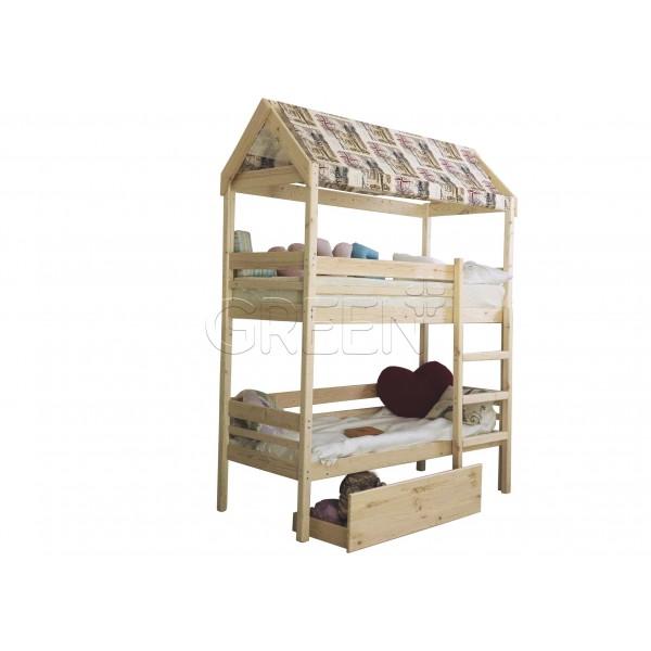 Кровать домик двухъярусная Baby-house 70х190 фото