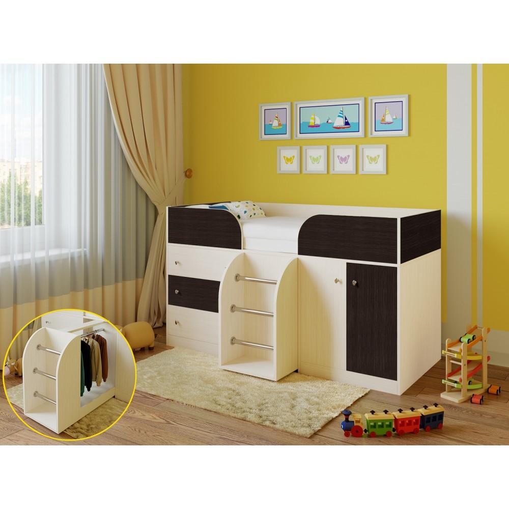 Кровать чердак Астра 5 дуб молочный/венге