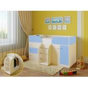 Кровать чердак Астра 5 дуб молочный/голубой