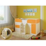 Кровать чердак Астра 5 дуб молочный/оранжевый