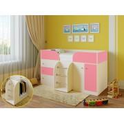 Кровать чердак Астра 5 дуб молочный/розовый