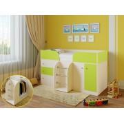 Кровать чердак Астра 5 дуб молочный/салатовый