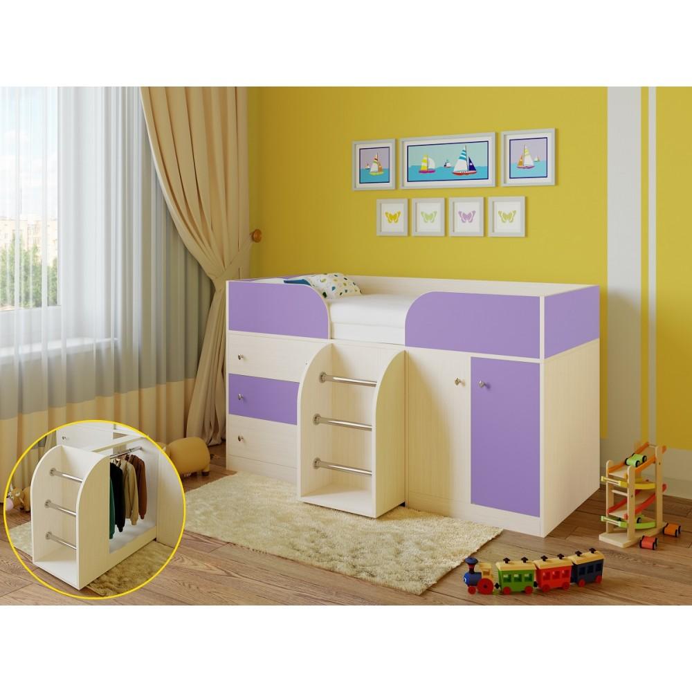Кровать чердак Libra дуб молочный/фиолетовый