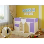 Кровать чердак Астра 5 дуб молочный/фиолетовый