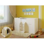 Кровать чердак Астра 5 дуб молочный/дуб молочный