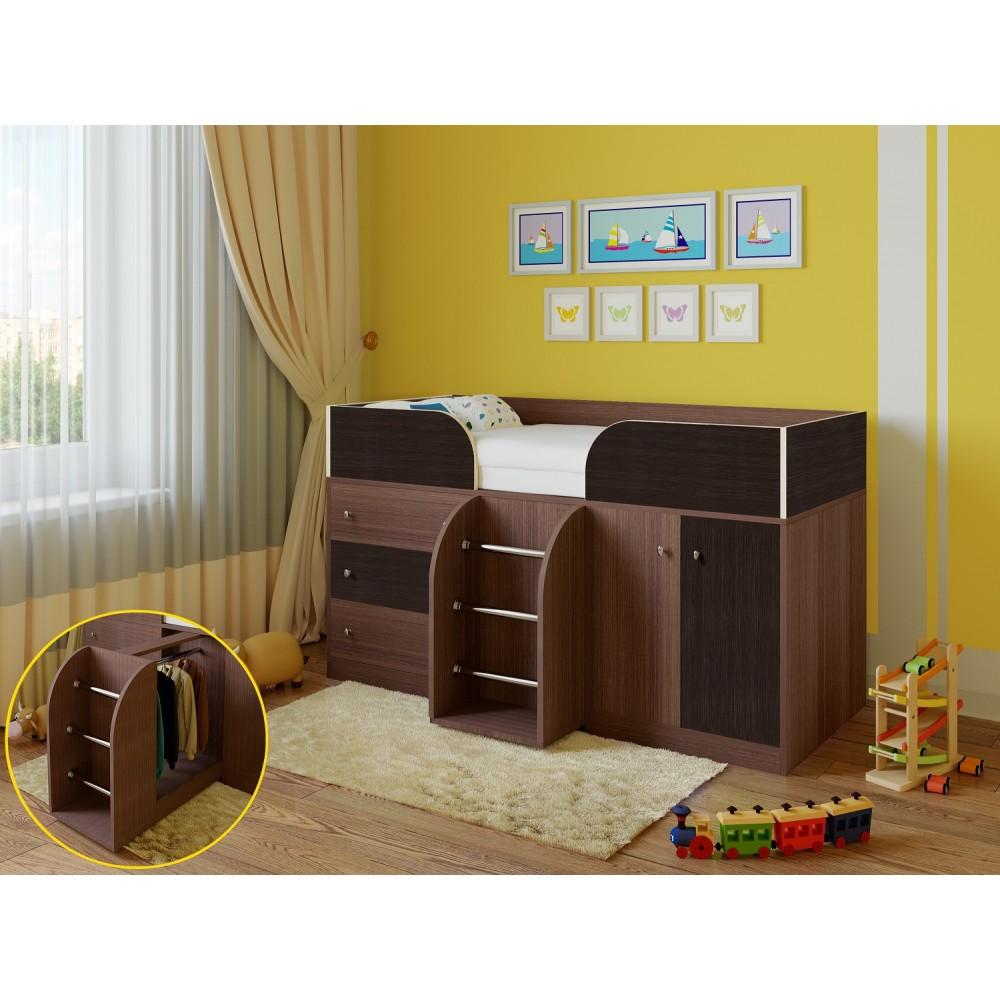 Кровать чердак Libra дуб шамони/венге