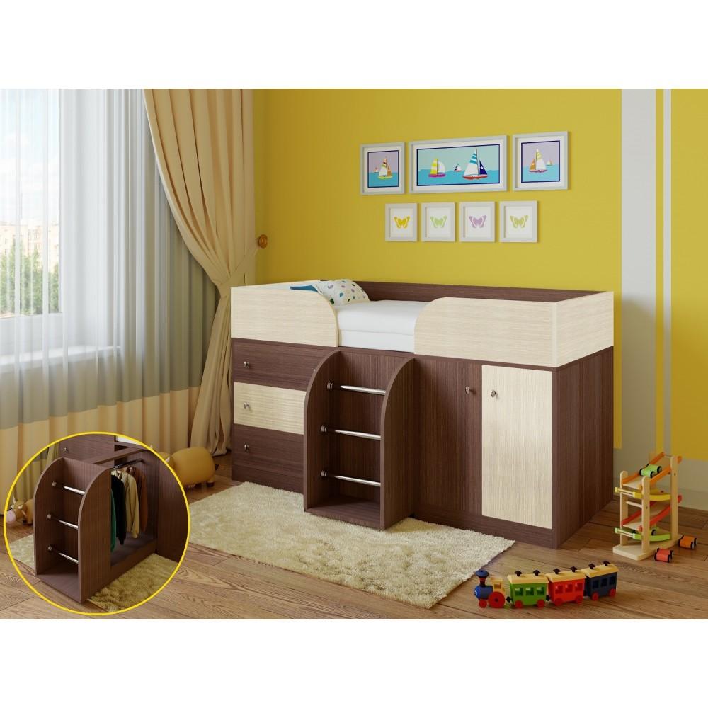 Кровать чердак Астра 5 дуб шамони/голубой