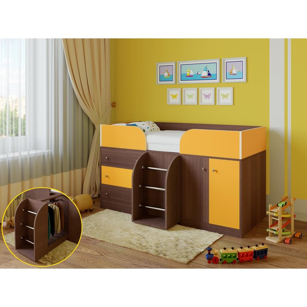 Кровать чердак Астра 5 дуб шамони/оранжевый