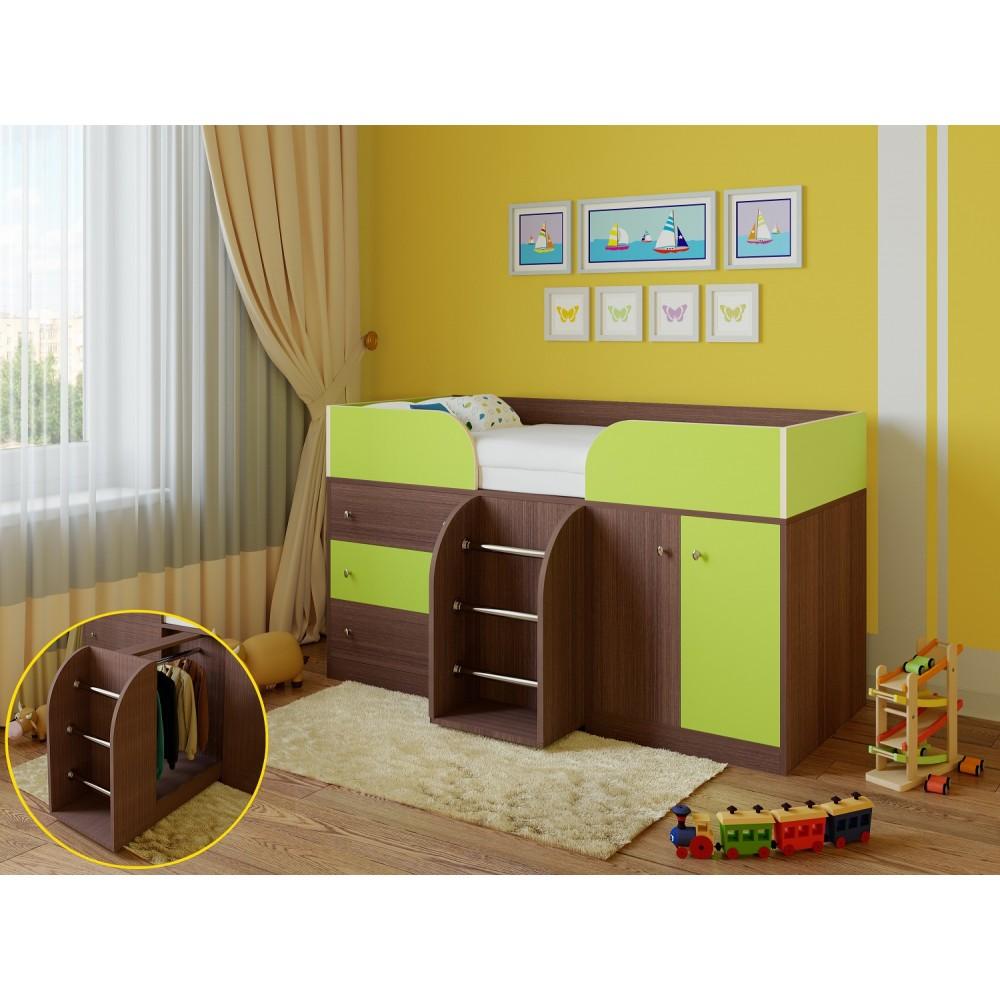 Кровать чердак Астра 5 дуб шамони/салатовый