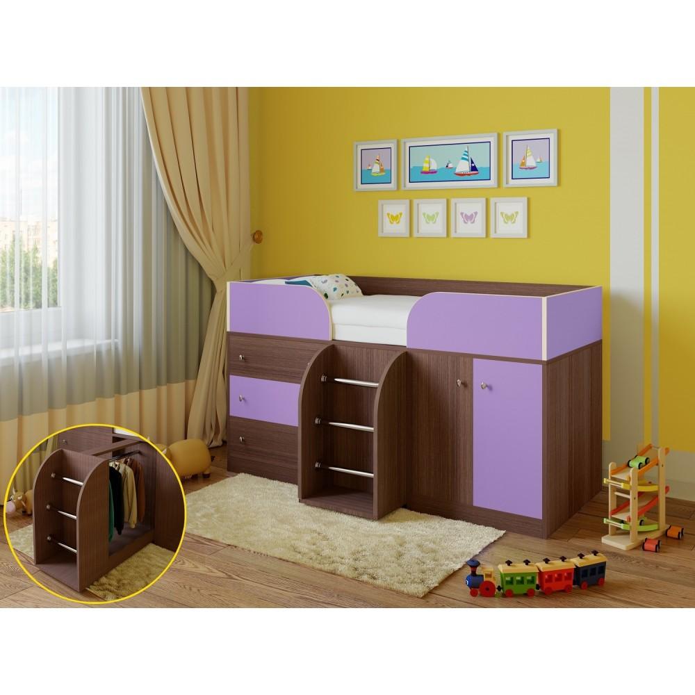 Кровать чердак Астра 5 дуб шамони/фиолетовый