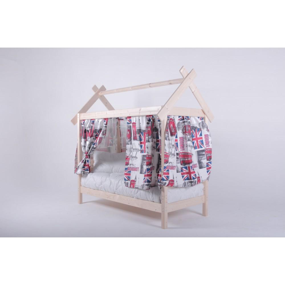 Комплект шторок для детской кровати Домик 70х160 (газета, авиатор, велюр)