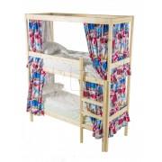 Двухъярусная кровать с каркасом для штор 70х190
