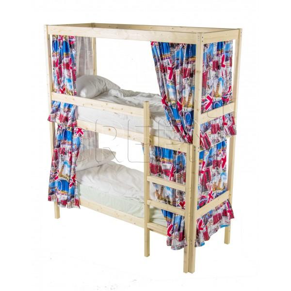 Двухъярусная кровать с каркасом для штор 70х190 Green Mebel