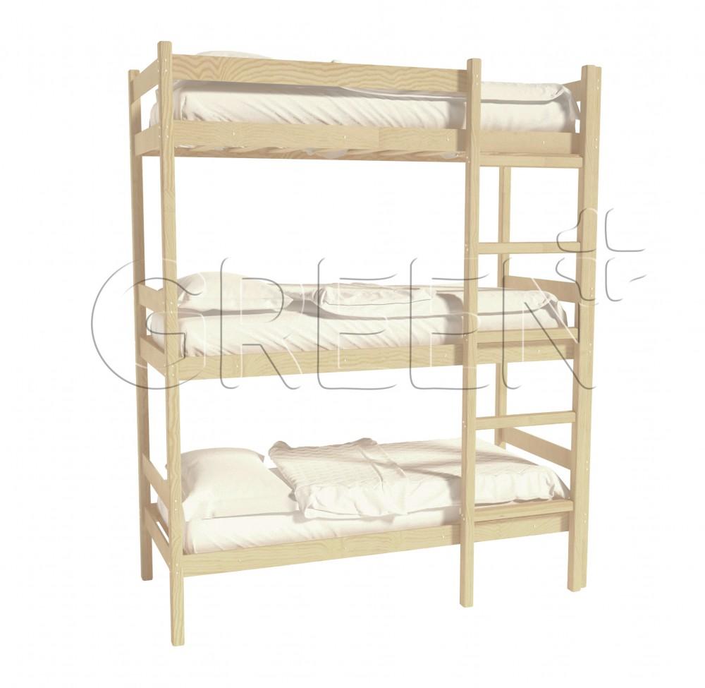 Трехъярусная кровать из дерева 80х190
